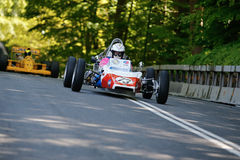 Randall Lawson in a Renault GRAC formula one. AARHUS, DENMARK - MAY 24 2015: Randall Lawson in a Renault GRAC formula one racing car from 1972 at the Classic Stock Photo