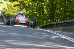 Randall Lawson in a Renault GRAC formula one racing car. AARHUS, DENMARK - MAY 24 2015: Randall Lawson in a Renault GRAC formula one racing car from 1972 at the Royalty Free Stock Images