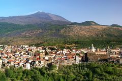 Randazzo and Etna. Volcano Etna and cathedral in Randazzo, Sicily Royalty Free Stock Photo