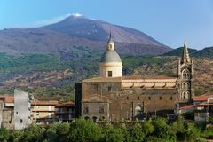 Randazzo and Etna. Volcano Etna and cathedral in Randazzo, Sicily Stock Photography