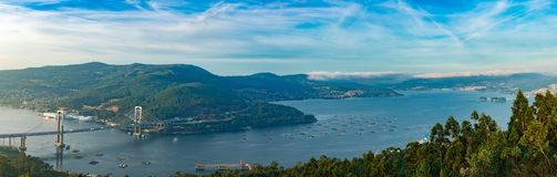 Rande,比戈,加利西亚,西班牙桥梁  免版税库存照片