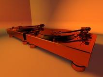 Randello 3D dello studio delle piattaforme girevoli del DJ Fotografia Stock Libera da Diritti