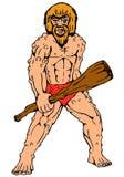 Randello della holding del caveman del fumetto Fotografia Stock
