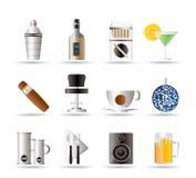 Randello di notte, barra ed icone della bevanda Fotografie Stock