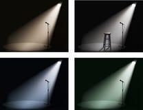 Randello di notte con il riflettore ed il microfono Immagine Stock Libera da Diritti