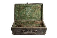 Randig öppen resväska för tappning royaltyfria foton