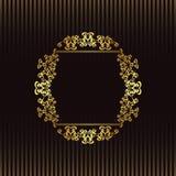 Randig bakgrund med ett guld- inramar Royaltyfri Fotografi