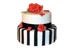Randig bröllopstårta arkivfoto