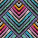 Randig geometrisk sömlös modell för broderi 3d Vektorabstrac royaltyfri illustrationer