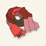 Randig halsduk med frans stock illustrationer