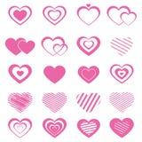 Randig hjärta för rosa färger Arkivbilder