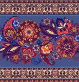Randig indisk sömlös modell Färgrik dekorativ gräns Dekorativ prydnad för tyg, textil, inpackningspapper Royaltyfri Foto