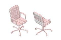 Randig kontorsstol vektorkonturillustration vektor illustrationer