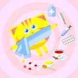 Randig röd kattförkylning Arkivfoton
