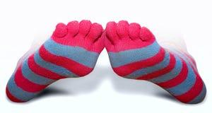 randig toe för sockor Royaltyfri Bild