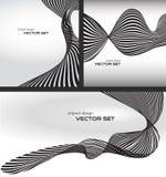 Randig vågbakgrundsuppsättning Vektor Illustrationer