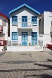 Randiga kulöra hus, Costa Nova, Beira Litoral, Portugal, Eur Arkivfoton