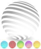 Randiga sfärer i 6 färger Arkivbilder