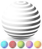 Randiga sfärer i 6 färger Arkivfoto