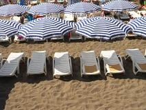 Randiga strandparaplyer och vita sunbeds Royaltyfri Bild
