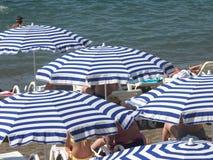 Randiga strandparaplyer och vita sunbeds Fotografering för Bildbyråer