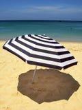 randigt paraply för strand Royaltyfri Bild