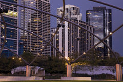 Randolph Avenue Buildings in Chicago. At dusk Royalty Free Stock Photo
