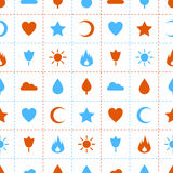 Random abstract icons seamless pattern. Flame flower sun tree cloud water drop star heart crescent. Vector background for web page postcards greeting cards Stock Photos