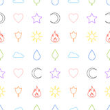 Random abstract icons seamless pattern. Flame flower sun tree cloud water drop star heart crescent. Vector background for web page postcards greeting cards Royalty Free Stock Images