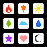 Random abstract icons set. Flame flower sun tree cloud water drop star heart crescent moon. Vector icons for your web design, phone Stock Photo