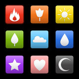 Random abstract icons set. Flame flower sun tree cloud water drop star heart crescent moon. Vector icons for your web design, phone Royalty Free Stock Photos