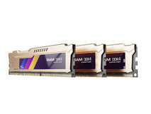 Random access memory RAM modules gold color isolated on the white background. 3d render Royalty Free Stock Photography