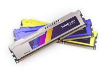Random access memory RAM modules metallic color isolated on the white background. 3d render Royalty Free Stock Image