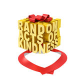 Random acts of kindness day. Creative concept. Golden word in the form of gift box with open red ribbon as symbol of random giving (donation) of kindness, love Royalty Free Stock Image