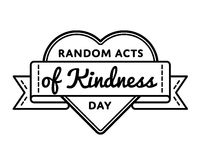 Random acts of kindness day greeting emblem. Random acts of kindness day emblem isolated raster illustration on white background. 17 february world altruistic Stock Photo