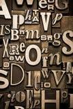 Random Alphabet. A random arrangement of letterpress letters stock images