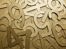 Gold metal texture numbers Royalty Free Stock Photo