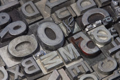 Random arrangement of letterpress lead letters Stock Photos