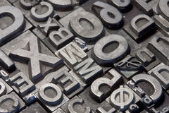 Random arrangement of letterpress lead letters Stock Photo