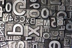 Random arrangement of letterpress lead letters Royalty Free Stock Image