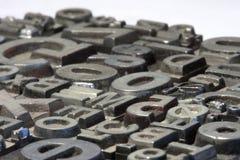 Random arrangement of letterpress lead letters Stock Photos