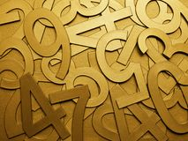 Yellow gold metal texture numbers Royalty Free Stock Image