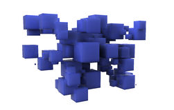Random array of blue cubes Royalty Free Stock Image