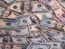Random Bills. US Currency, multiple denominations, in random setup Stock Photos