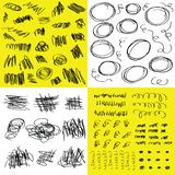 Random black hand drawn doodle and scribbles design elements set on white and yellow. Tile square backgrounds stock illustration