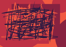 Random brushstrokes red background. Random brushed lines red color. Vector illustration. Grunge chaotic wrapping brushstrokes. Intersect scattered painted Royalty Free Stock Image