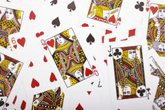 Random cards. A selection of random playing cards Royalty Free Stock Image