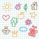 childlike colorful childish marker style icons vector set vector illustration