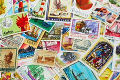 Random Collection of Postal Stamps. Shot of the random collection of postal stamps (1920-2000s Stock Photos