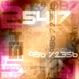 Random color numbers. Red orange pink random color numbers background Royalty Free Stock Images